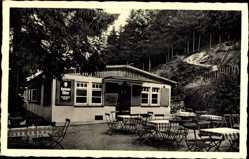 Postcard Barsinghausen Deister, Waldschänke Heisterburg, Burganlage, Tische