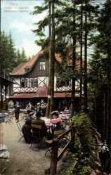 Postcard Hasserode Wernigerode Harz, Blick auf das Hotel Wasserfall, Besucher