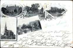 Postcard Neumühl Obernheim Kirchenarnbach, Pfarrkirche, Kaplanei, Bahnhof, Schleuse