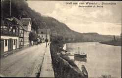 Postcard Pegestorf, Steinmühle, Wesertal, Restauration, Inh. A. Beuse, Fachwerk