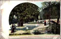 Postcard Bieberstein Reinsberg, Sommerfrische, Schwanenteich, Brücke, Passanten