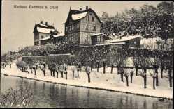 Postcard Hochheim bei Erfurt, Blick auf das Kurhaus, Fluss, Winteraufnahme
