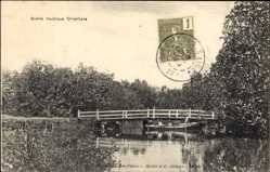 Postcard Vietnam, Scene nautique Orientale, Boot , Brücke