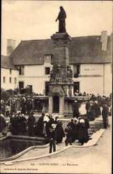Postcard Saint Anne Doubs, La Fontaine, Fontäne, Restaurant