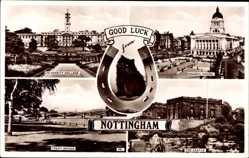 Postcard Nottingham East Midlands England, University College, Council House, Bridge