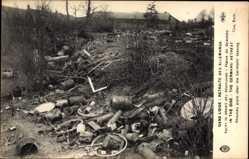 Postcard Beaulieu des Fontaines Oise, Retraite des Allemands, Deutsches Kriegsgerät