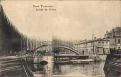 Postcard Selles Loir et Cher, Pont Tournant, Drehbrücke
