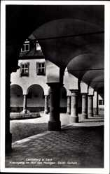 Postcard Landsberg am Lech in Oberbayern, Kreuzgang im Hof des Hl. Geist Spitals