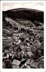 Postcard Wildemann im Oberharz, Blick vom hohen Berg auf den Ort, Felder
