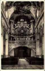 Postcard Amorbach in Unterfranken, Abteikirche mit Orgel, Innenansicht, Gebetsbänke