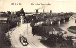 Postcard Kehl am Rhein Ortenaukreis Baden Württemberg, Rheinbrücken, Straßenbahn