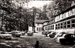 Postcard Bad Grund im Harz, Iberger Kaffeehaus, Herm. Thiele, Autos, Garten