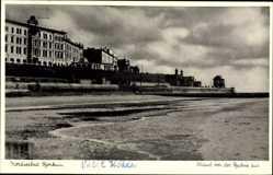 Postcard Insel Borkum im Kreis Leer, Strand von der Ruhne aus, Häuser, Meer