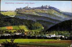 Postcard Augustusburg im Erzgebirge, Blick auf das Schloss, Häuser, Felder