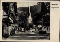 Postcard Bayrischzell im Mangfallgebirge Oberbayern, Blick in die Ortschaft mit Kirche