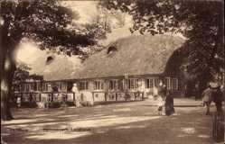 Postcard Hamburg Mitte Hamm, Blick auf das Landhaus im Hammerpark, Reetdach