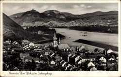 Postcard Oberwinter Remagen im Kreis Ahrweiler, Blick zum Siebengebirge, Kirche