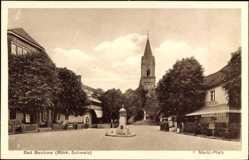 Postcard Buckow Märk. Schweiz, Blick auf den Marktplatz,Hotel, Denkmal, Central Hotel