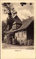 Postcard Stolpe Angermünde in der Uckermark, Wohnhaus, Kinder, Rankenbewuchs