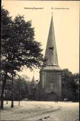 Postcard Hamburg Nord Eppendorf, Blick auf die St. Johanniskirche, Straßenpartie