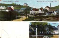 Postcard Hammer Leubsdorf im Kreis Mittelsachsen, Gasthof, Bahnhof, Gleisseite