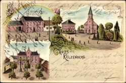 Litho Kelzenberg Jüchen, Wirtschaft Rees, Pastorat, Kirche, Schule, Rathaus