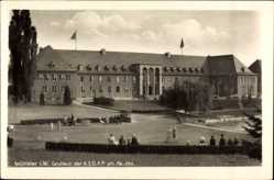 Postcard Münster in Westfalen, Gauhaus der NSDAP am Aa See, Parkanlage