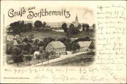 Postcard Dorfchemnitz Mittelsachsen, Fachwerkhäuser, Kirche, Straßenpartie