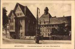 Postcard Weißenfels im Burgenlandkreis, Eisenbahnbetriebsamt, Oberrealschule
