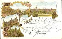 Litho Düren in Nordrhein Westfalen, Heimbach, Merade, Laufenburg, Totale