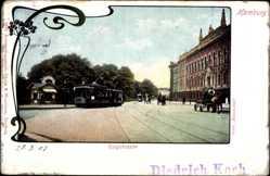 Jugendstil Ak Hamburg, Ringstraße, Straßenbahn, Straßenpartie