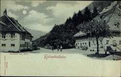 Mondschein Ak Donaueschingen, Höllentalbahn, Gasthaus zum Adler