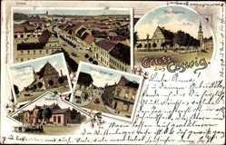 Litho Coswig an der Elbe im Kreis Wittenberg, Markt, Bahnhof, Friederikenstraße
