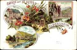 Litho Walporzheim Bad Neuenahr Ahrweiler, St. Peter, Mariental, Bunte Kuh