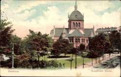 Postcard Hamburg Mitte Borgfelde, Partie an der Kirche, Grünanlagen