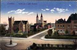 Postcard Landau i.d. Pfalz, Blick auf die Kreuzung im südlichen Stadttteil, Kirche