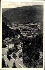 Postcard Bad Liebenzell im Schwarzwald, Blick auf den Ort, Bahnschienen, Wald