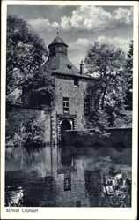 Postcard Friesenhagen Rheinland, Blick auf Schloss Crottorf, Gewässer, Brücke