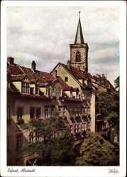 Postcard Erfurt in Thüringen, Partie in der Altstadt, Kirchturm, Häuser
