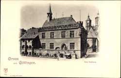 Postcard Göttingen in Niedersachsen, Straßenpartie mit Blick auf das Rathaus