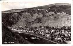 Postcard Alken an der Mosel, Blick auf den Ort, Salondampfer auf dem Fluss, Berg