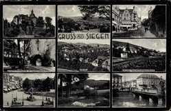 Postcard Siegen in Nordrhein Westfalen, Schloss, Jugendherberge, Markt, Siegbrücke