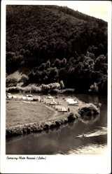 Postcard Nassau Lahn, Campingplatz, Zelte, Boot, Waldhang, Berg, Ufer, Flusspartie