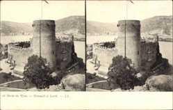 Stereo Ak Heimburg Niederheimbach, Turm, Fahne, Mauerwerk, Berge, See