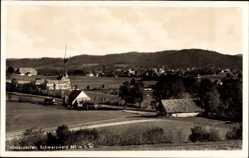 Postcard Hinterzarten im Südschwarzwald, Stadtpanorama, Felder, Berge