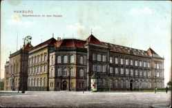 Postcard Hamburg Mitte Altstadt, Gewerbeschule vor dem Steintor, Littfaßsäule