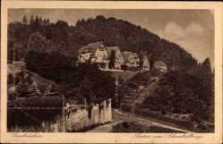 Postcard Saarbrücken im Saarland, Partie am Schenkelberg, Wald, Gebäude