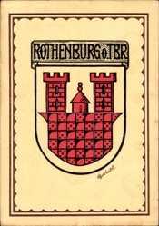 Künstler Wappen Ak Rothenburg ob der Tauber Mittelfranken