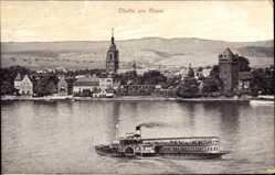 Postcard Eltville am Rhein Hessen, Rheindampfer, Kirchturm