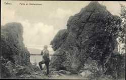 Postcard Tabarz im Thüringer Wald, Partie am Übelbergfelsen, Ausblick